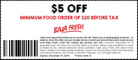 picture about Baja Fresh Coupons Printable identify Printable Baja Clean Coupon: $5 Off Minimal Food items Obtain of