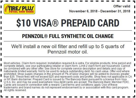 Printable Tires Plus Coupon 10 Visa Prepaid Card For