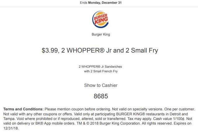 picture about Bk Printable Application named Printable Burger King Coupon: 2 WHOPPER Jr Sandwiches with 2