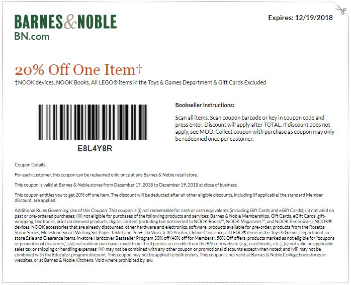 photograph regarding Barnes and Noble Printable Gift Card called Printable Barnes and Noble Coupon: 20% Off A single Products