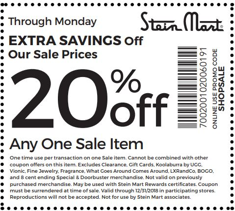 graphic regarding Need Printable Coupons for Steinmart named Printable Stein Mart Coupon: 20% Off Any A single Sale Solution