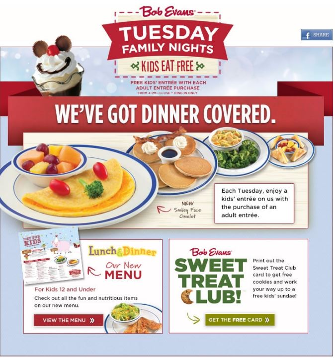 image regarding Bob Evans Printable Menu titled Printable Coupon: No cost youngsters entree with each individual