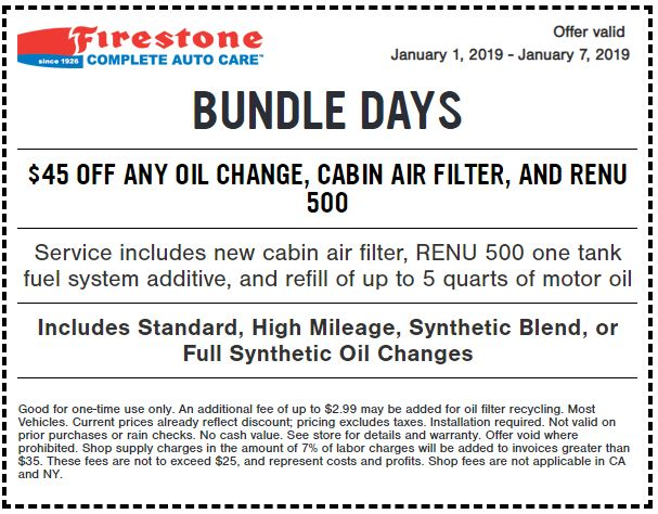 Printable Firestone Complete Auto Care Coupon 45 Off Any Oil