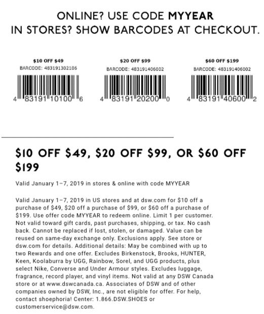 photograph regarding Dsw 20 Off 49 Printable Coupon named Printable DSW Coupon: Up Towards $60 Off with Minimal Invest in