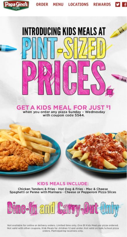 photo about Papa Gino's Printable Coupons identify Printable Coupon: Acquire a Children Supper for simply just $1