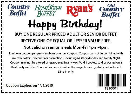 photograph relating to Old Country Buffet Printable Coupons Buy One Get One Free named Printable Coupon: Obtain A single, Purchase A single Absolutely free Grownup Or