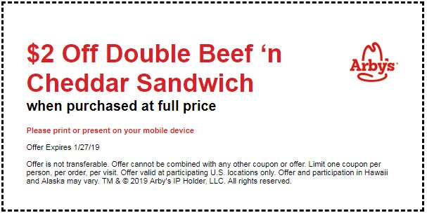 photo about Cheddars Coupons Printable named Printable Arbys Coupon: $2 Off Double Beefn Cheddar