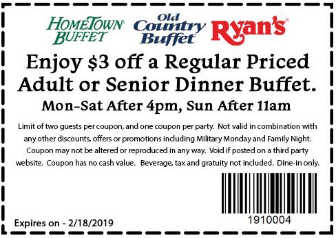 photograph regarding Ryans Printable Coupons referred to as Printable Coupon: $3 Off Grownup Or Senior Supper Buffet
