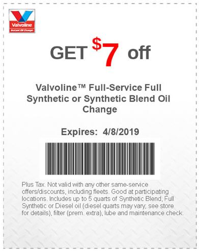 photograph regarding Valvoline Printable Coupon known as Printable Coupon: $7 Off Finish-Support Complete