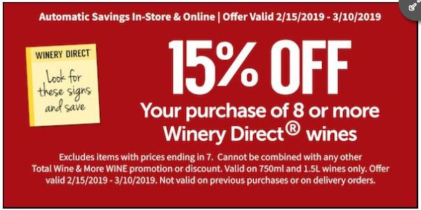 graphic regarding Total Wine Coupon Printable titled Printable Coupon: 15% Off your obtain of 8