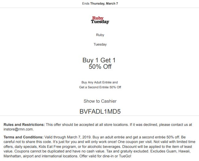 photo about Ruby Tuesdays Coupons Printable known as Printable Ruby Tuesday Coupon: Get Any Grownup Entree and Attain