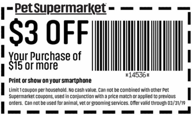 picture about Pet Supermarket Coupons Printable titled Printable Coupon: $3 Off $15+