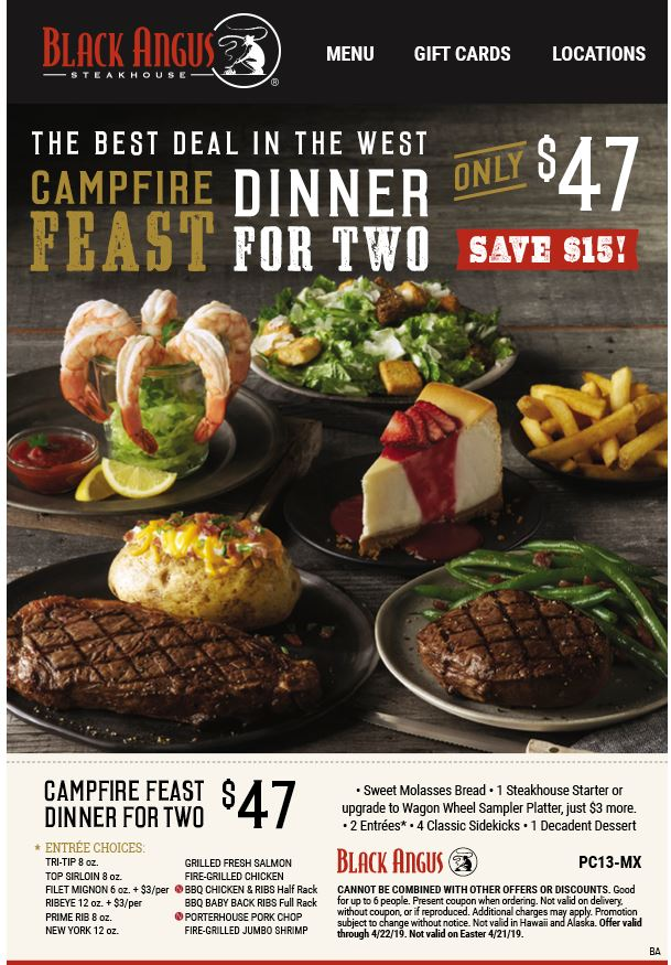 image about Black Angus Printable Coupons named Printable Black Angus Steakhouse Coupon: Campfire Feast