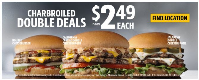photo about Carls Jr Coupons Printable titled Printable Coupon: $2.49 Charbroiled Double