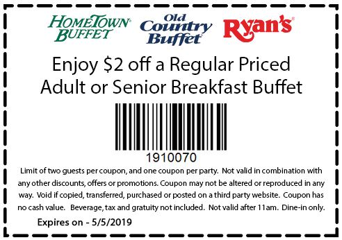 graphic about Ryans Printable Coupons known as Printable Coupon: $2 Off Grownup Or Senior Breakfast