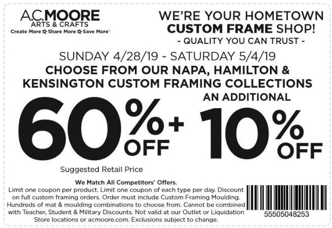 picture relating to Ac Moore Coupon Printable known as Printable A.C. Moore Coupon: 60% Off + Additional 10% Off Personalized
