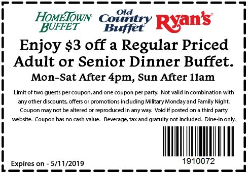 photograph relating to Hometown Buffet Coupons Printable called Printable Coupon: $3 Off Grownup Or Senior