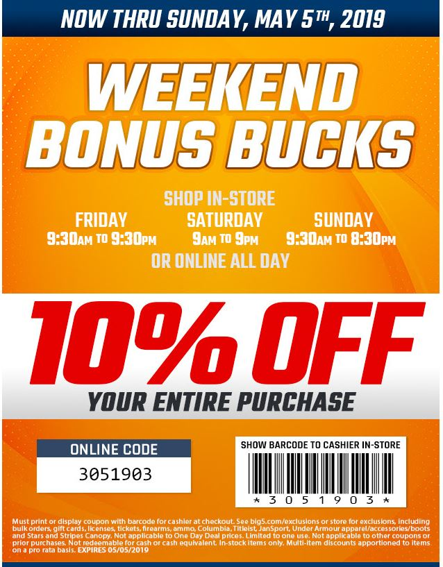 picture regarding Big 5 Printable Coupons known as Printable Substantial 5 Putting on Items Coupon: 10% Off your total