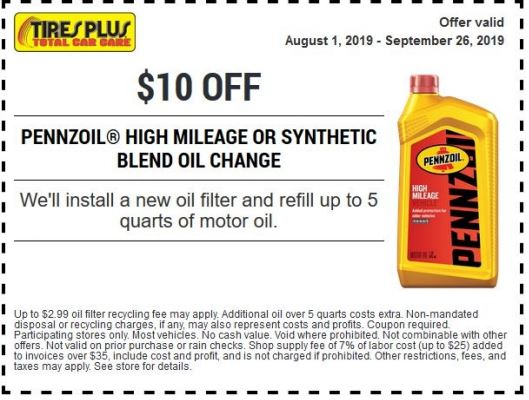 Printable Tires Plus Coupon 10 Off Pennzoil High Mileage