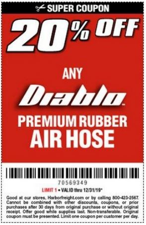 Printable Harbor Freight Coupon 20 Off Any Diablo Premium Rubber Air Hose